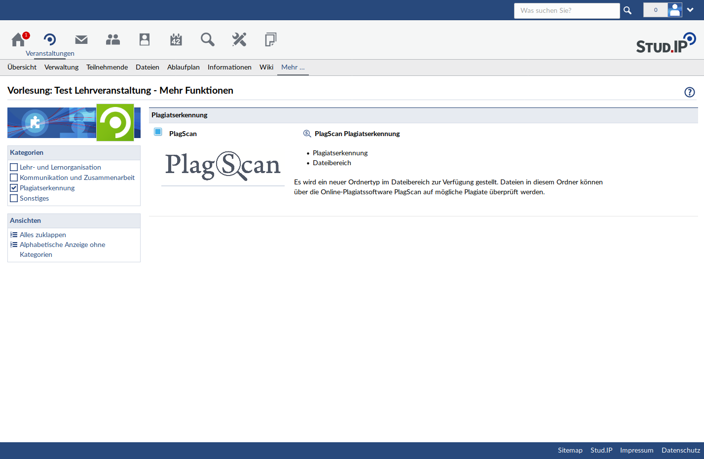 Activation PlagScan in the stud.ip interface