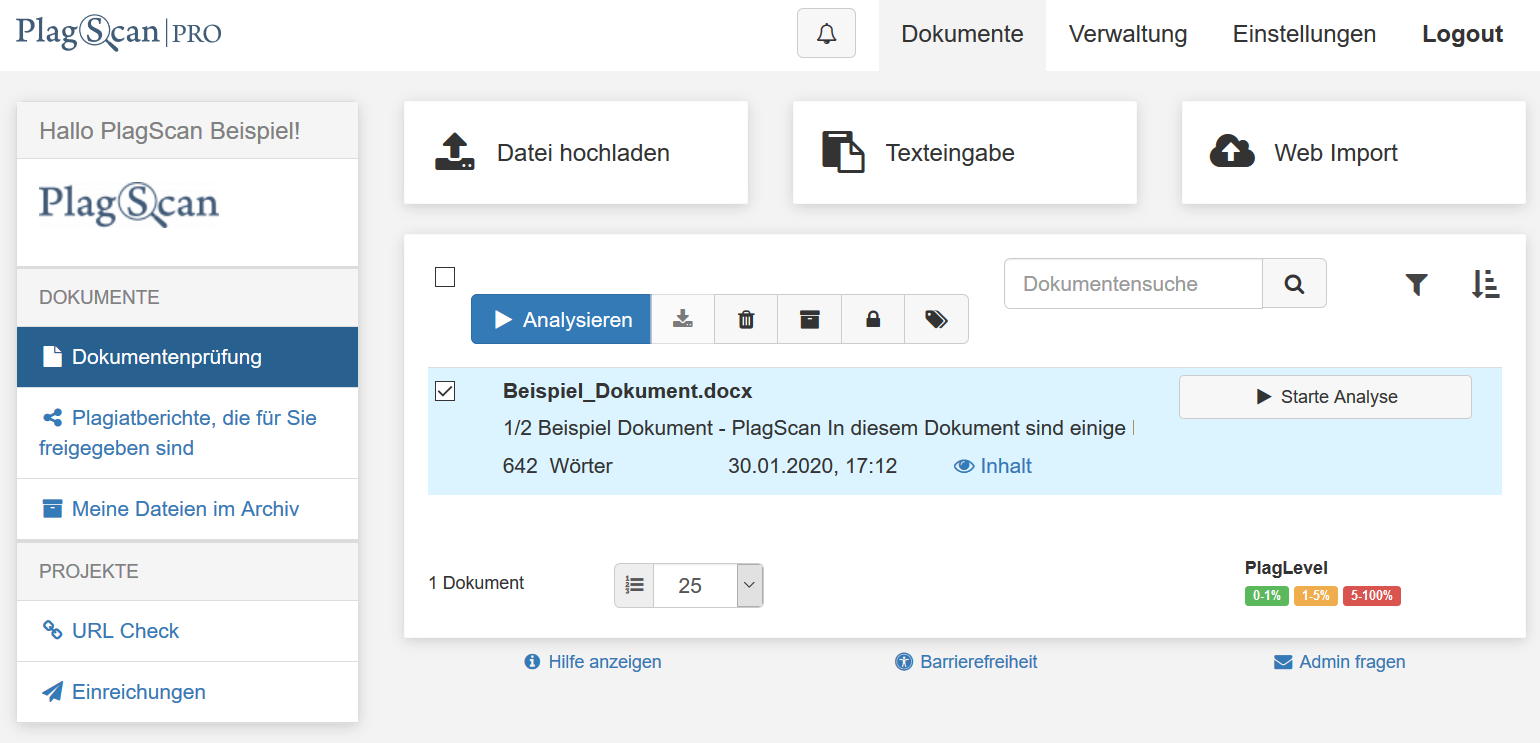 Screenshot PlagScan Dokument-Manager