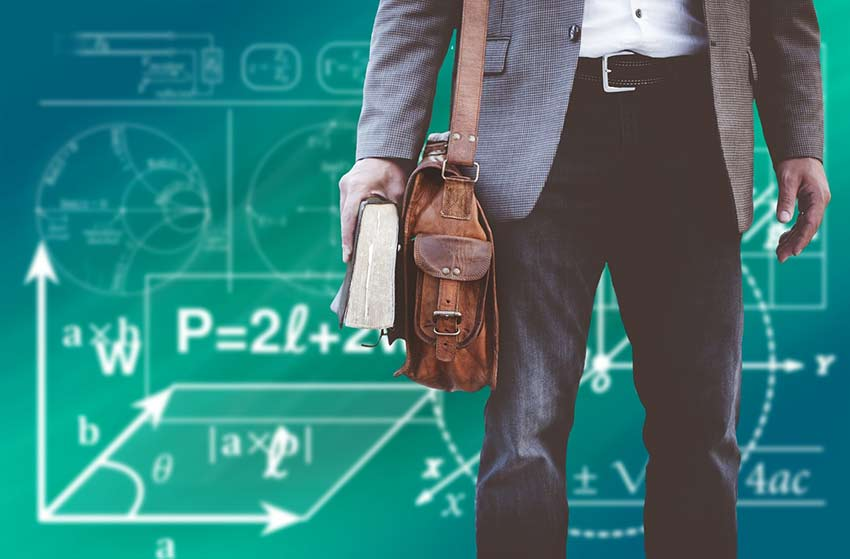 Man carrying book and bag before mathematic concepts on green background