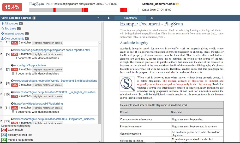 Screenshot of PlagScan interactive browser report