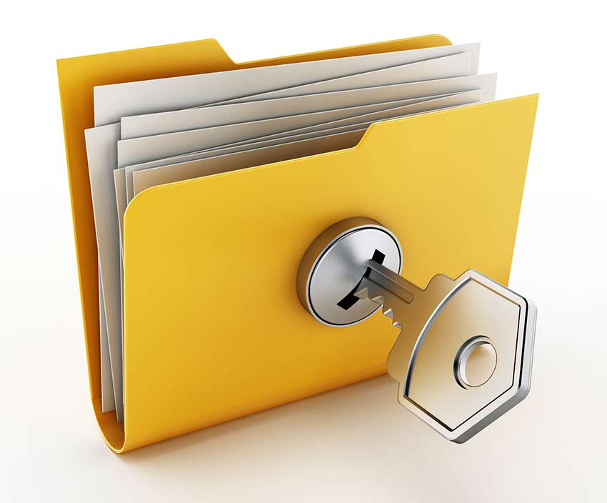 Locked yellow file folder with key