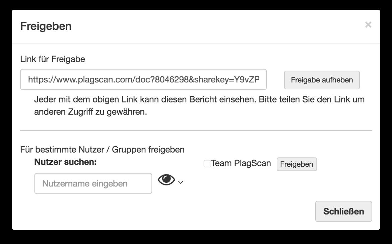 german screenshot of share modal