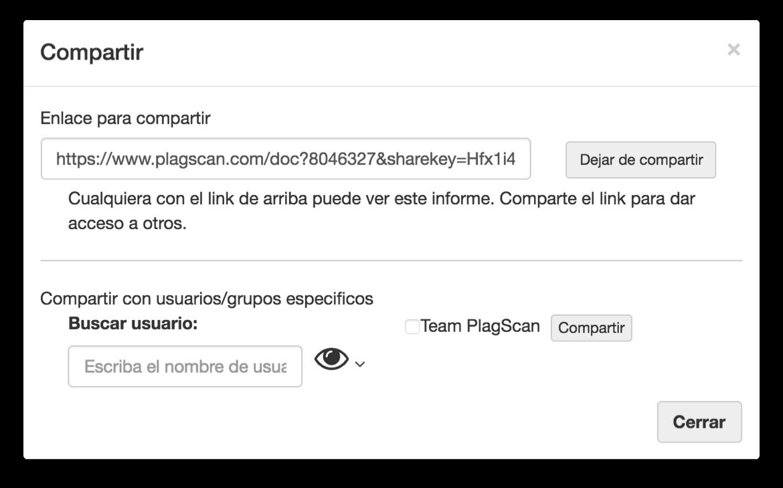spanish screenshot of share modal