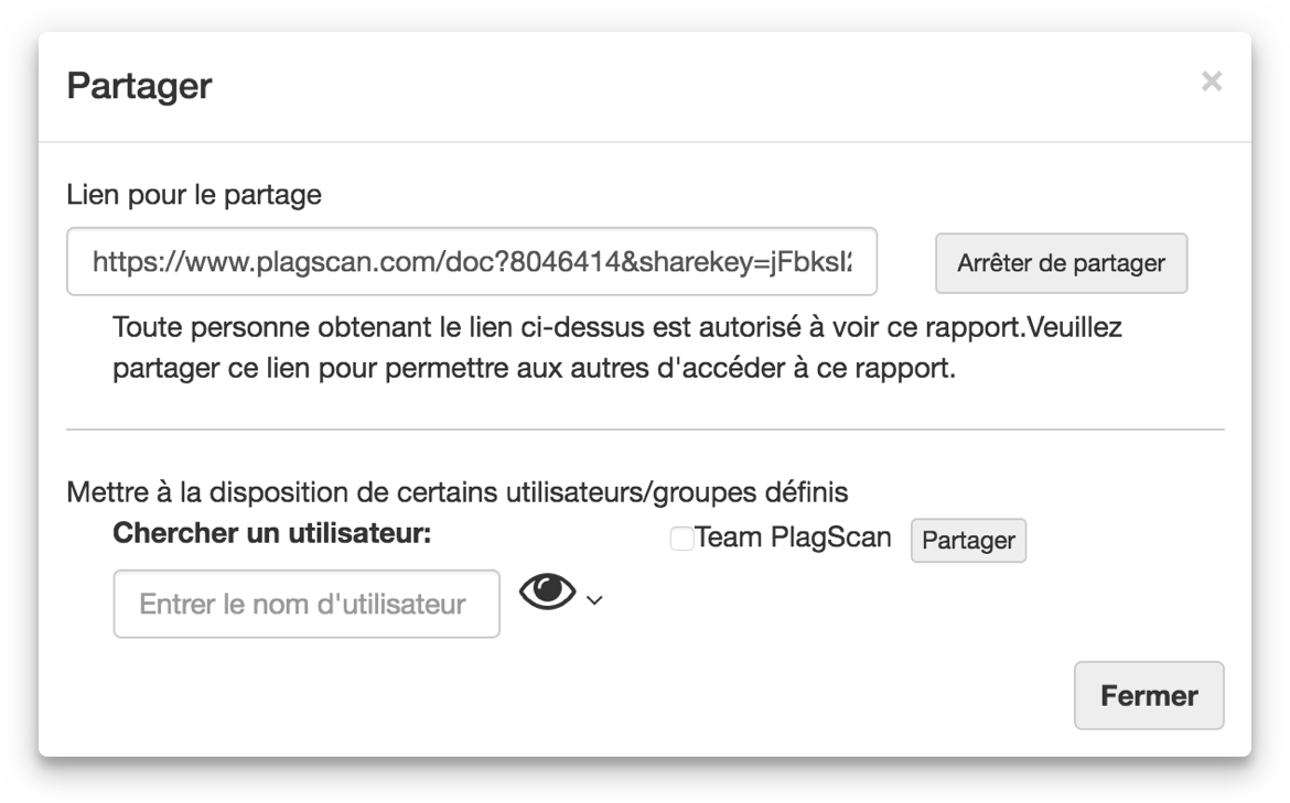 french screenshot of share modal