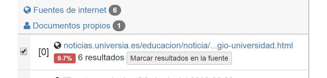 Close screenshot of the sources in Spanish