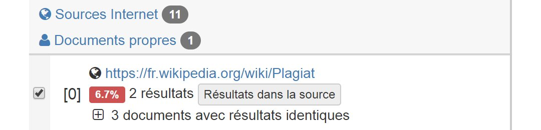Close screenshot of the sources in French
